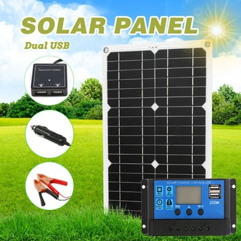 180W 12V Professional Solar Panel Kit 1/2 USB Port Off Grid Monocrystalline Module LCD Display with 20A Solar Charge Controller