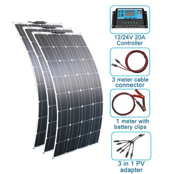 200w solar panel kit 300w 100w 12V 24V monocrystalline flexible solar panels for solar battery charger cell home system kits