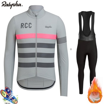 2020 New Raphaful RCC Pro Winter Cycling Suit Bib Set Warm Wool Fleece Ropa Ciclismo Invierno Bicycle Men Triathlon Bike Jersey