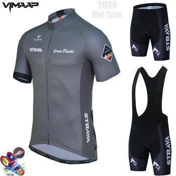 2020 New STRAVA Summer Cycling Jersey Set Breathable Team Racing Sport Bicycle Jersey Mens Cycling Clothing Short Bike Jersey