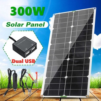 300W Solar Panel 10/20/30A Controller 18V Dual USB Portable Battery Charger For Outdoor Mobile PhoneCar Yacht RV Lights Charging