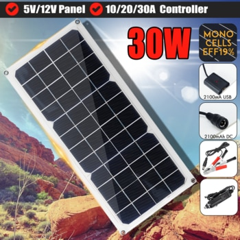 30W Solar Panel Solar USB Charger Controller Solar Cells for 12V 5V Camping Fan Hiking Lamp Generator System+Suckers/Carabiner