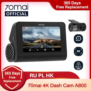 70mai Dash Cam 4K A800 Built-in GPS ADAS 70mai Real 4K Car DVR UHD Cinema-quality Image 24H Parking SONY IMX415 140FOV