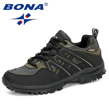 BONA 2020 New Designers Hiking Shoes Man Wear-Resistant Outdoor Sport Shoes Men Lace-Up Climbing Trekking Hunting Sneakers Male
