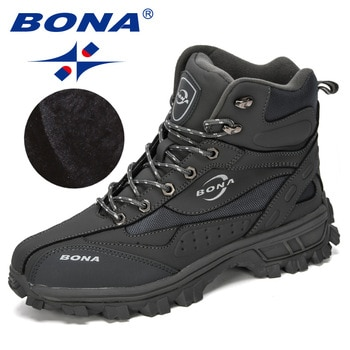 BONA New Designers Action Leather Shoes Climbing & Fishing Shoes Men Outdoor Shoes Man High Top Winter Boots Plush Comfy