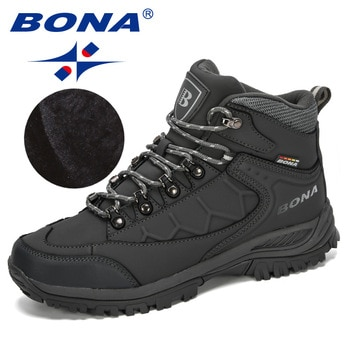BONA New Designers Nubuck Leather Hiking Shoes Men Autumn Winter Climbing Boots High Top Trekking Hunting Shoe Trainers Man