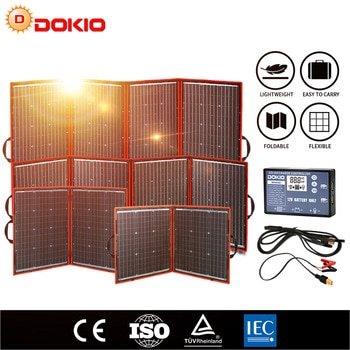 Dokio Flexible Foldable Solar Panel High Efficience Travel & Phone & Boat Portable 12V 80w 100w 150w 200w 300w Solar Panel Kit