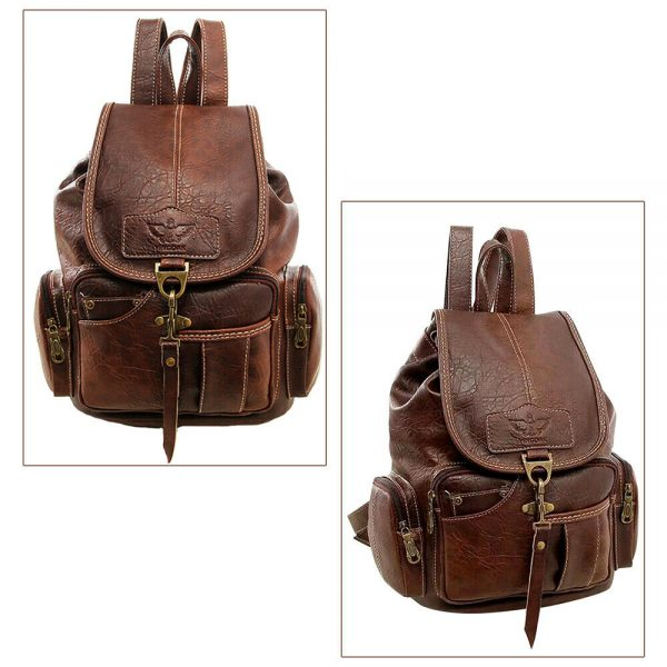 Fashion Leather Women Backpack Shoulder School Book Bag Causal Purse Rucksack
