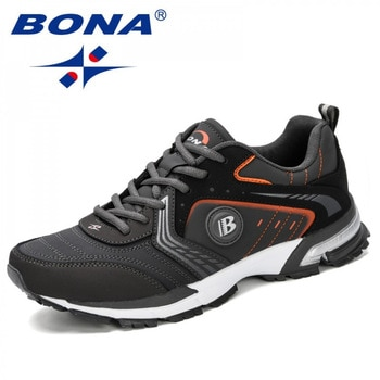 BONA Running Shoes Men Fashion Outdoor Light Breathable Sneakers Man Lace-Up Sports Walking Jogging Shoes Man Comfortable