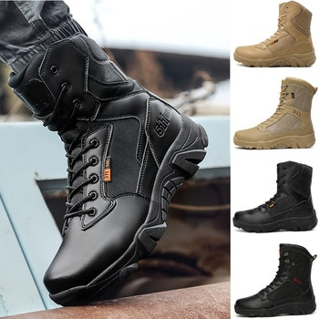 Men's Combat Boots High-top Warm Tactical Shoes Waterproof Anti-skidding Outdoor Male Military Boots