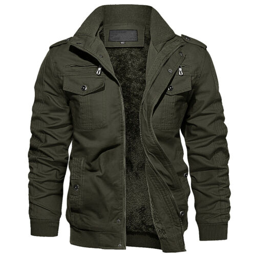 Mens Thick Tactical Jacket Fleece Lined Casual Cotton Coat Army Outdoor Workwear
