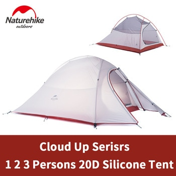 Naturehike Cloud Up Camping Tent 1-3 Persons Ultralight 20D Silicone / 210T Polyester Travel Hiking Tent with Free Mat Camping
