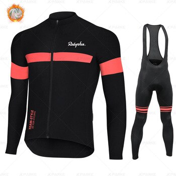 New Raphaful Winter Thermal Fleece Set Cycling Clothes Men's Jersey Suit Sport Riding Bike MTB Clothing Bib Pants Warm Sets Ropa