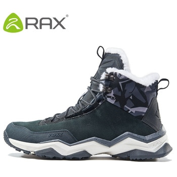 RAX Waterproof Hiking Shoes Men Winter Outdoor Sneakers for Men Snow Boots Plush Mountain Snowboots Outdoor Tourism Jogging Shoe