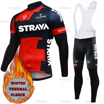 STRAVA Winter Cycling Set 2021 Thermal Fleece Long Sleeve Sportswear Keep Warm Premium Bicycle Team Racing Pro Jersey Suit
