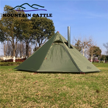 Ultralight Camping Teepee 3-4Person Big Pyramid Tent Backpacking Tent with Chimney Hole Awnings Shelter for Birdwatching Cooking