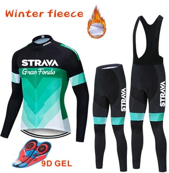 Warm 2020 Winter thermal fleece Cycling Clothes STRAVA men Jersey suit outdoor riding bike MTB clothing Bib Pants set