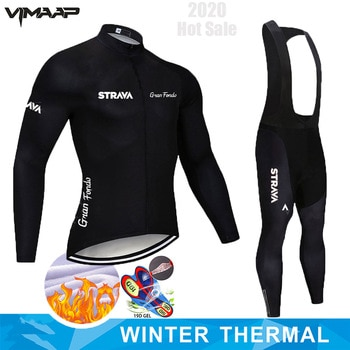 Winter Thermal Fleece 2020 STRAVA Cycling Jersey Long Set MTB Cycle Clothing Sportswear Mountain Bike Clothes ropa ciclismo