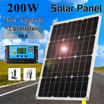Solar Panel 200W 30A Controller 18V Dual USB Port Outdoor Portable Battery Charger For Mobile Phone Car Yacht RV Lights Charging