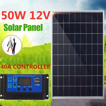 Solar Panel 50W USB 12V Monocrystalline Cell +40A Solar Charger Controller For Battery Cell Phone Charger with Battery Clip